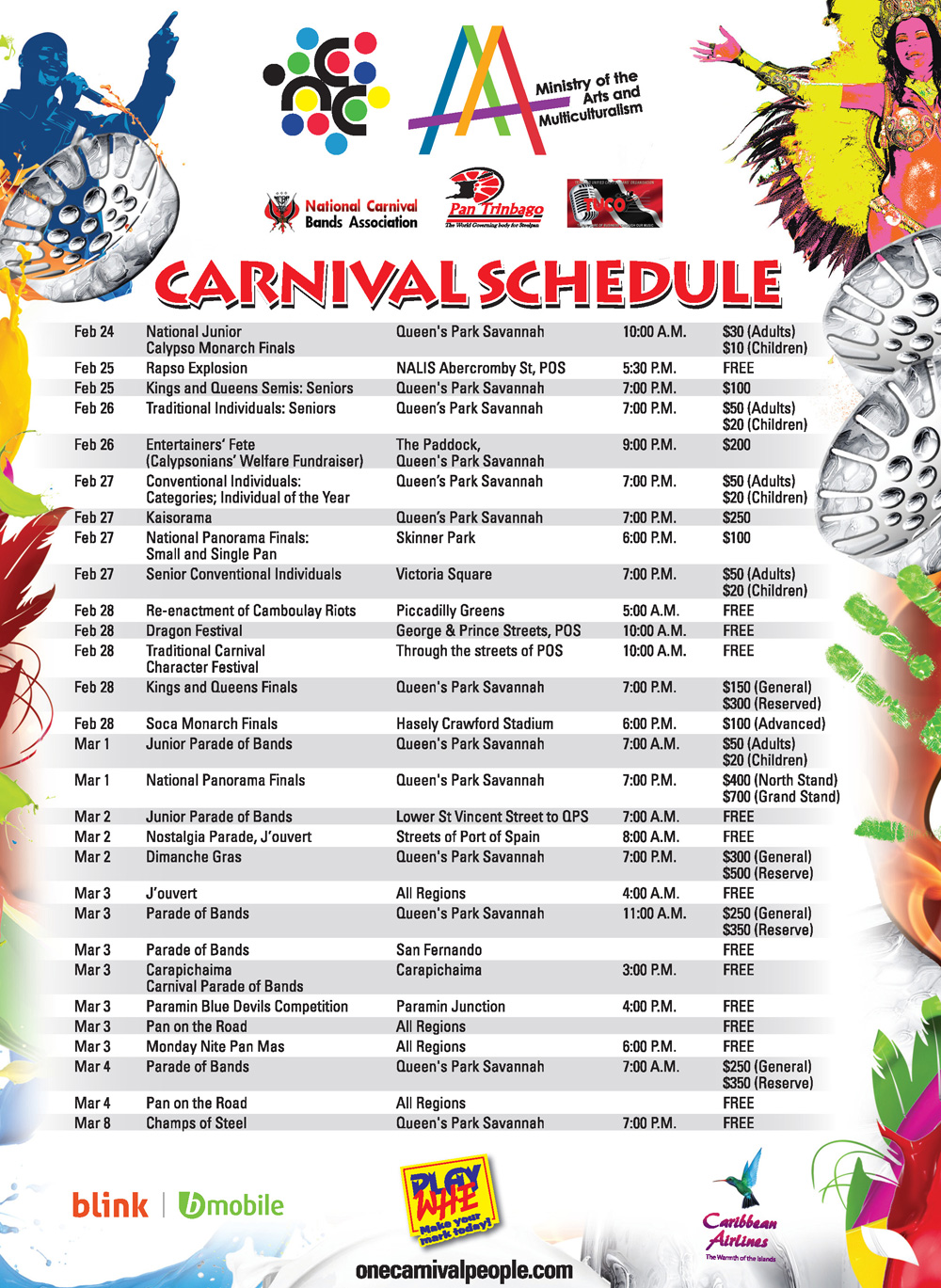 schedule tickets trinidad tobago