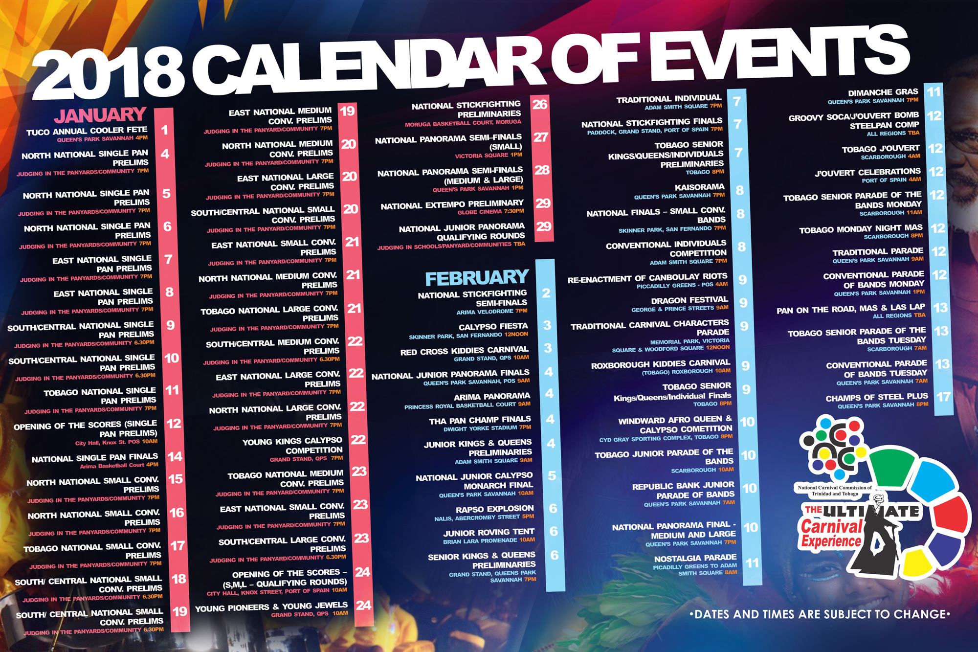 Calendar Of Events : Pan trinbago