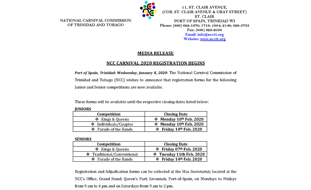 NCC Carnival 2020 Registration Begins